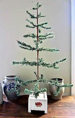 """Antique Vintage Goose Feather Christmas Tree With White Square Base ~ 36"""""""