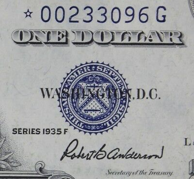 $1 1935F STAR CU Silver Certificate *00233096G Series F One Dollar FREE SHIPPING