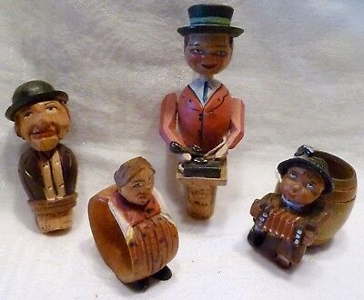 Lot 4 ANRI Italy WOOD CARVINGS Napkin Ring BOTTLE STOPPERS Toothpick HOLDER