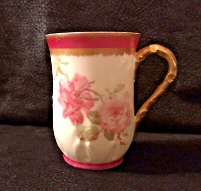 """Limoges  France  GDA Demitasse Cup 3"""" Tall Flowers with gold Trim"""