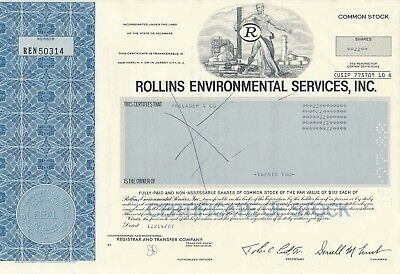 Rollins Environmental Services Inc., 22 Shares, 14.12.1987, Philadep & Co.