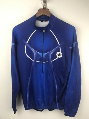 893910ad1 Castelli Womens XL Blue White Zip up Cycling Jacket Shirt Pockets Italy  Long Slv