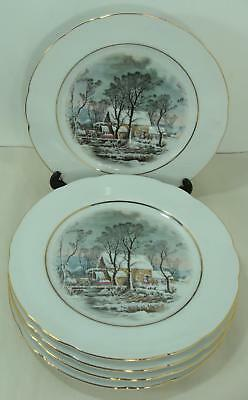 """Lot of 5 Avon Currier & Ives The Old Grist Mill 8"""" Salad Dessert Plates"""