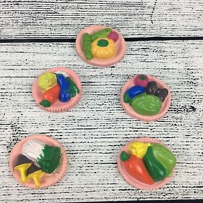 Vintage Refrigerator Magnets Food Vegetable Fruit Pink Platter 5 Plastic Magnets