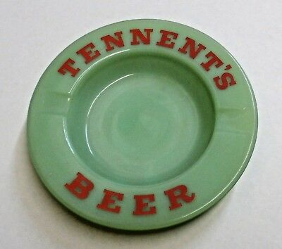 """5½"""" - Tennent's Beer Green Glass Ashtray - Made In England - Nazeing - Regicor"""
