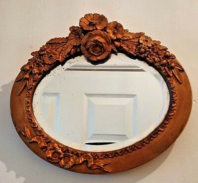 Antique Ornate Rococo Shabby Chic Style Floral Oval Bevelled Glass Wall Mirror