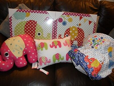 "Elephant, Nellie Laundry basket, Cushions & Pictures approx 18"" x 18"" each, New"