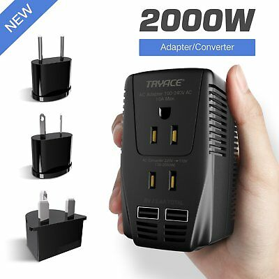 2000W Voltage Converter with 2 USB Ports Set Down 220V to 110V Power Converter