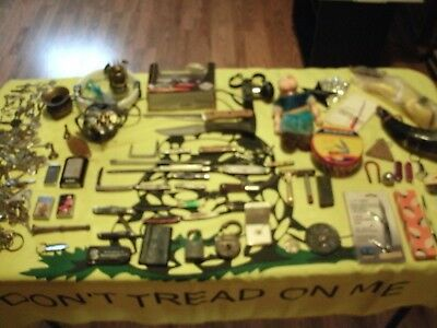 Junk Drawer Lot Old Knives Case Buck Zippo Razors, Keys Much More Goodies LOOK!