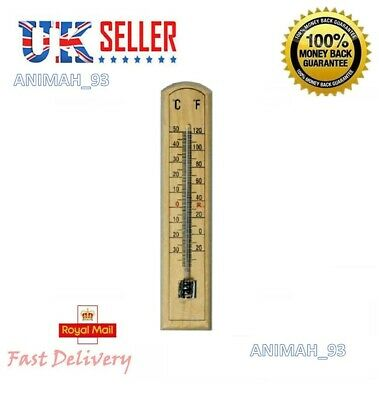 Traditional Wooden Wood Thermometer Wall Mounting C F Reading In Outdoor Weather