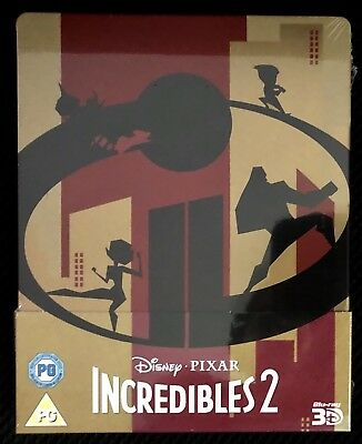 Disney Pixar Incredibles 2 (3D/2D Blu-ray discs, 2018) Region Free Steelbook NEW