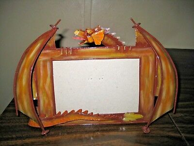"""Tin Standing Picture Frame With Dragon - 11.5"""" x 7.5"""""""