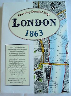Map of London Reproduction of old map1863 (4 sheets) + Street map 1843
