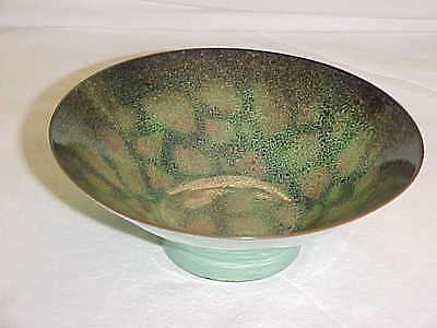 Signed Dorothy Mcmillen Modern Enamel Copper Art Bowl Midcentury Abstract Ohio !