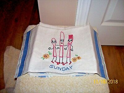 Set Of 7 Vintage Embroidered Days Of The Week Dish Towels W/faces
