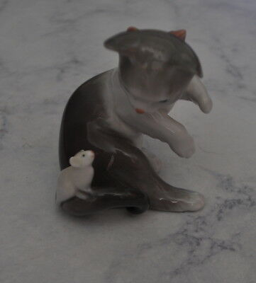 LLADRO 5236 Adorable Cat and Mouse Retired! Mint Condition! No Box!