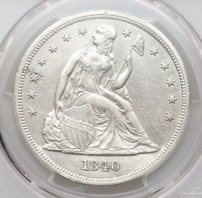 1840 PCGS AU Details Seated Liberty Silver Dollar Low 61K Mintage Better Date