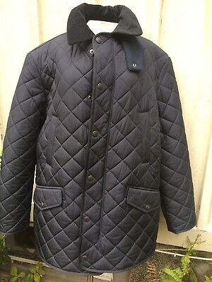 Mens Barbour Bardon Quilted Jacket Coat Fleece Lined in Navy Blue - Size XL -