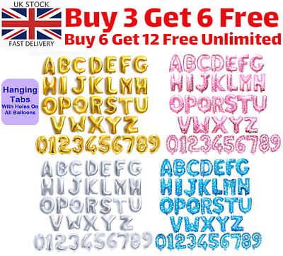 """Gold & Silver 16"""" Alphabet Letter Number Personalised Name A-Z Foil Balloons UK"""