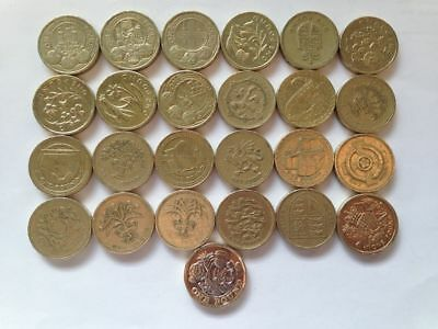 ONE Pound Coins == full set of 25 coins for Royal mint Album.