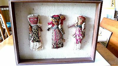 "Peruvian 3 Burial Dolls with babies Chancay Culture 8"" tall  Framed.  No glass"