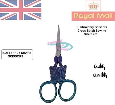 Sewing Embroidery Scissors Trimming Dressmaking Shears Cross-Stitch Butterfly UK