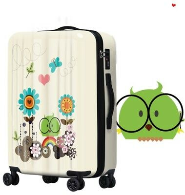 D447 Lock Universal Wheel Cartoon Parrot Travel Suitcase Luggage 24 Inches W