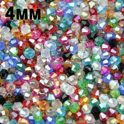 4mm 100pcs AAA Bicone Austrian crystals loose beads ball supply AB color