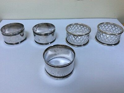 Antique Silver Plate Round Napkin Rings X 5