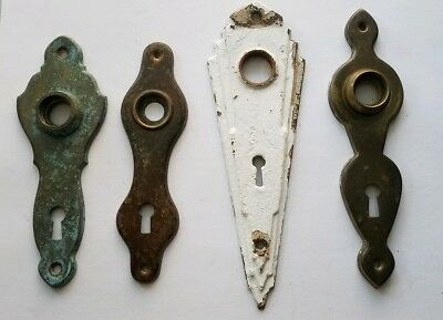 4 Vintage Brass Door Knob Back Plate Escutcheon with skeleton key holes