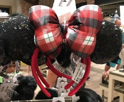 NEW Disney Parks 2018 Red Plaid Bow Holiday Minnie Ears Headband Christmas