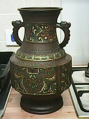 large chinese oriental champleave bronze vase / antique