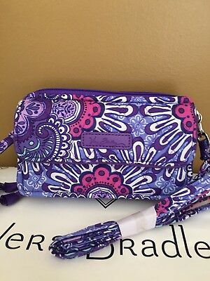 NWT Vera Bradley Lilac Tapestry All in One Crossbody Wristlet iPhone PLUS 6 7 8+