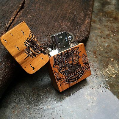Engraved Windproof Lighter Case with Wood Cover Cigar Lighter Sleeve Holder