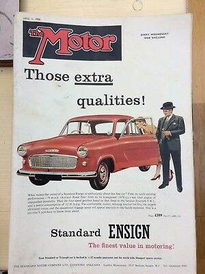 The Motor Magazine, June 11th 1958, One Shilling. Standard Ensign, Price £599 !!