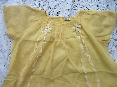 Lovely Girls Victorian Yellow Imported French Voile Dress~Smocked w/Lace Trim