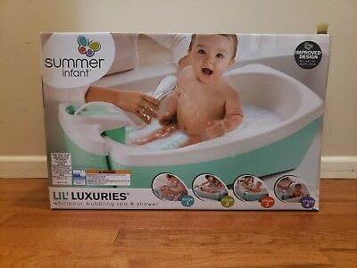 Summer Infant Lil Luxuries Whirlpool Bubbling Spa & Shower Bath Tub, Aqua