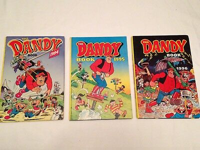 Classic Unclipped 3 DANDY ANNUALS Collectors Items 1994 1995 & 1996 VGC