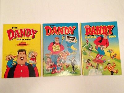 3 Classic Collectors Items DANDY ANNUALS Unclipped 1991,1992,1995 VGC