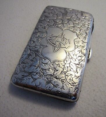 19thC Victorian SILVER Stamp Coin Card Aide Memoire Wallet Cigarette Purse Case