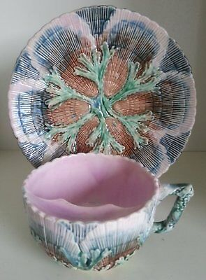Pretty/Old Majolica ETRUSCAN Seaweed Mustache Cup & Saucer Set, Circa 1880