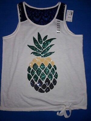 NWT Justice Girls Top 14/16 Pineapple Graphic Tee Glitter and Sequins