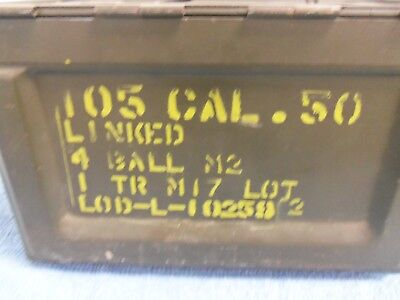 50 Cal M2 Linked Metal Ammo Box Army Military Holds 105  EMPTY US Flaming Bomb