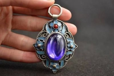 Old Handwork Miao  Silver  Carving Flower Inlay Zircon purple Pendant a02