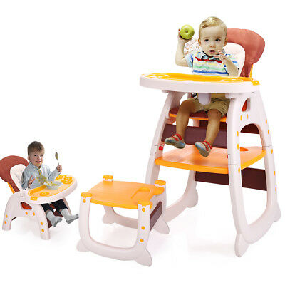 Infant 3 in1 Convertible Play Table Seat High Chair Booster Toddler Feeding Tray