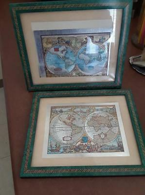 """Lot Of 2 """"a New And Accvrat Map Of The World"""