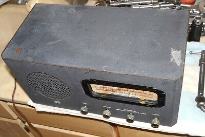 HOLLYWOOD ELECTRONICS HE-621 AM-SW VACUUM TUBE TABLE RADIO METAL pro serviced