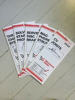 LOT OF 5 WESTERN AUTO PRINT HOW TO BOOKLETS Struts Brakes Joints Charging 1960'S