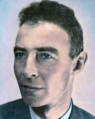 "J ROBERT OPPENHEIMER THEORETICAL PHYSICIST WWII 8x10"" HAND COLOR TINTED PHOTO"