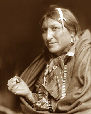JOE BLACK FOX (smoking) 1898 SIOUX NATIVE AMERICAN SEPIA PHOTO